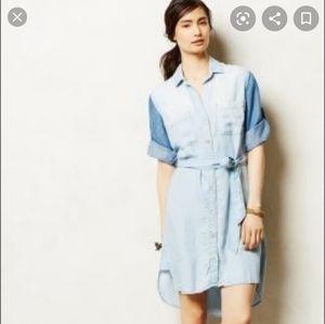 Anthro cloth and stone two tone denim shirt dress